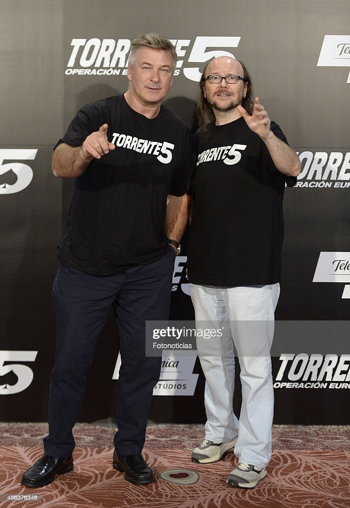 Alec Baldwin and Santiago Segura attend the 'Torrente 5 Operacion Eurovegas' photocall at Casino Colon on September 30 2014 in Madrid Spain