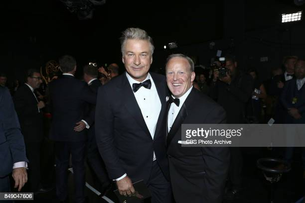 Alec Baldwin and Sean Spicer pose for a photograph backstage at the 69TH PRIMETIME EMMY AWARDS LIVE from the Microsoft Theater in Los Angeles Sunday...