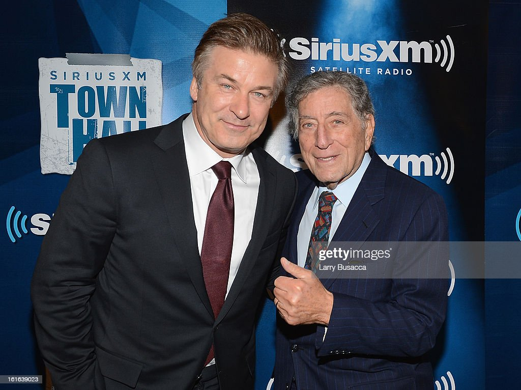 Alec Baldwin, and Tony Bennett attend 'SiriusXM's Town Hall with Tony Bennett' and Moderator Alec Baldwin at SiriusXM Studio on February 13, 2013 in New York City.