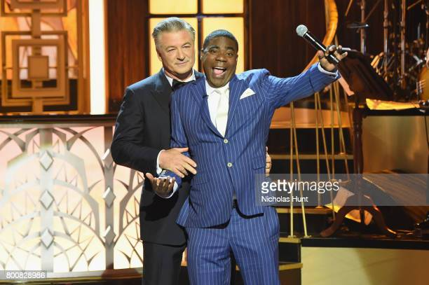 Alec Baldwin and Tracy Morgan speak onstage during Spike's 'Spike's One Night Only Alec Baldwin' at The Apollo Theater on June 25 2017 in New York...