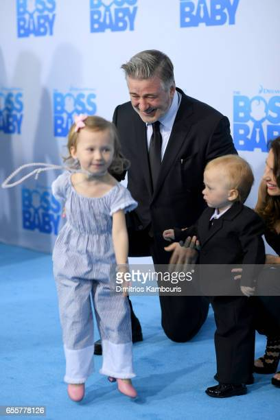 Alec Baldwin Carmen Gabriela Baldwin Hilaria Baldwin and Rafael Thomas Baldwin attend 'The Boss Baby' New York Premiere at AMC Loews Lincoln Square...