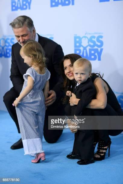 Alec Baldwin Carmen Gabriela Baldwin Hilaria Baldwin and Rafael Thomas Baldwin attend 'The Boss Baby' New York Premiere at AMC Loews Lincoln Square...