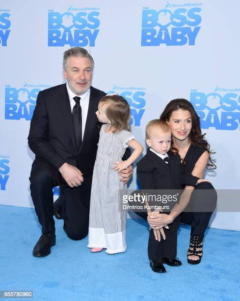 Alec Baldwin Carmen Gabriela Baldwin Rafael Thomas Baldwin and Hilaria Baldwin attend 'The Boss Baby' New York Premiere at AMC Loews Lincoln Square...