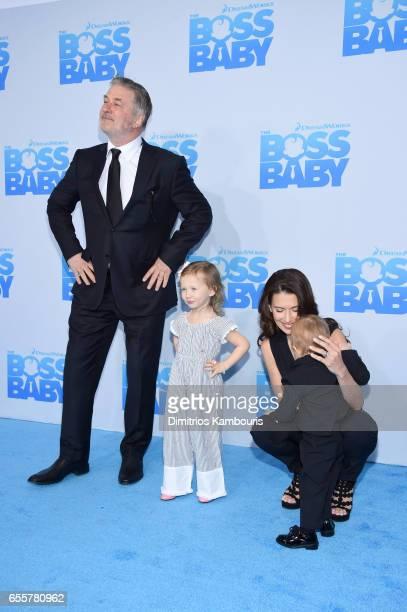 Alec Baldwin Carmen Gabriela Baldwin Rafael Thomas Baldwin and Hilaria Baldwin attend 'The Boss Baby' New York Premiere at AMC Loews Lincoln Square...