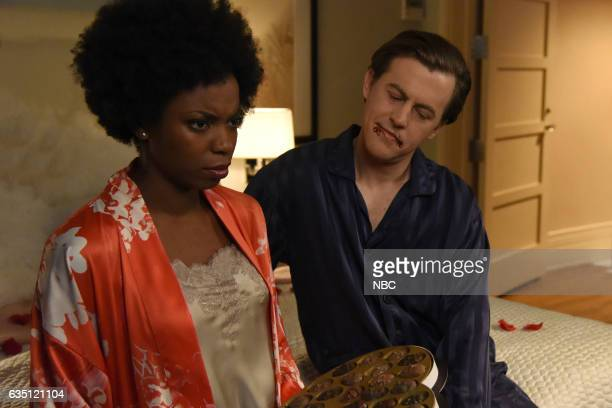 LIVE 'Alec Baldwin' Episode 1718 Pictured Sasheer Zamata and Alex Moffat during the 'Russell Stover' sketch on February 10 2017