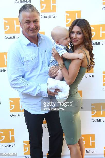 Alec Baldwin Hilaria Baldwin and Leonardo Angel Badwin attend the Guild Hall Summer Gala 2017 at Guild Hall and private residence on August 11 2017...