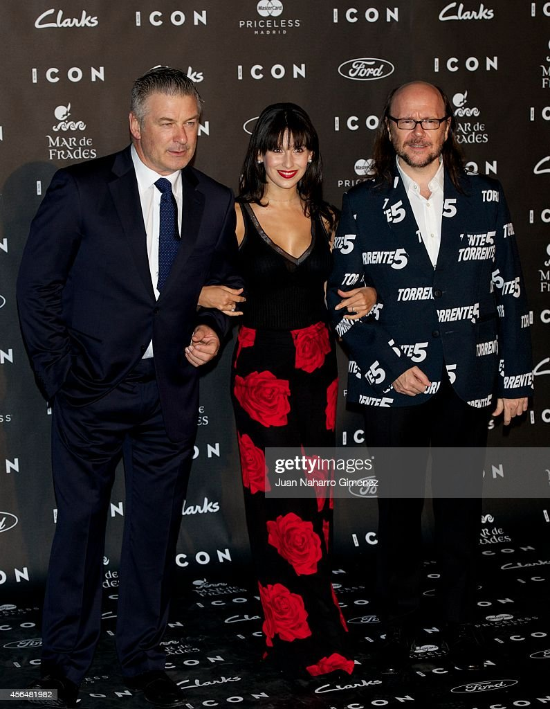 Alec Baldwin Hilaria Baldwin and Santiago Segura attend 'Icon Awards 2014' at chancery consular embassy of Italy on October 1 2014 in Madrid Spain