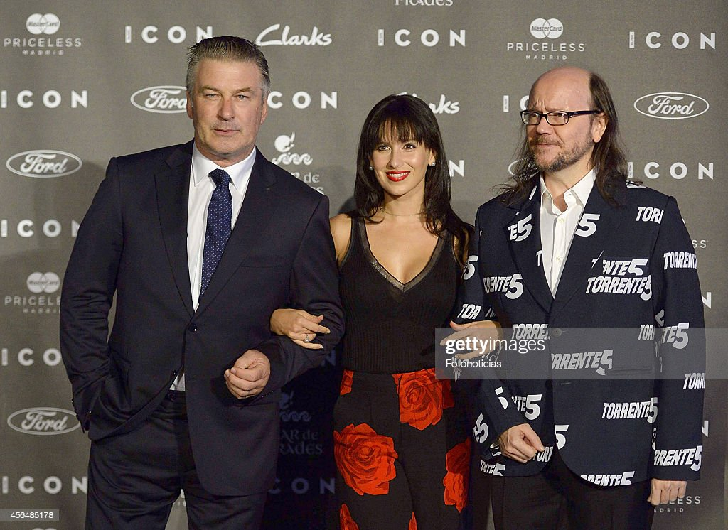 Alec Baldwin Hilaria Baldwin and Santiago Segura attend the 2014 Icon Magazine Awards ceremony at the Italian Consulate on October 1 2014 in Madrid...