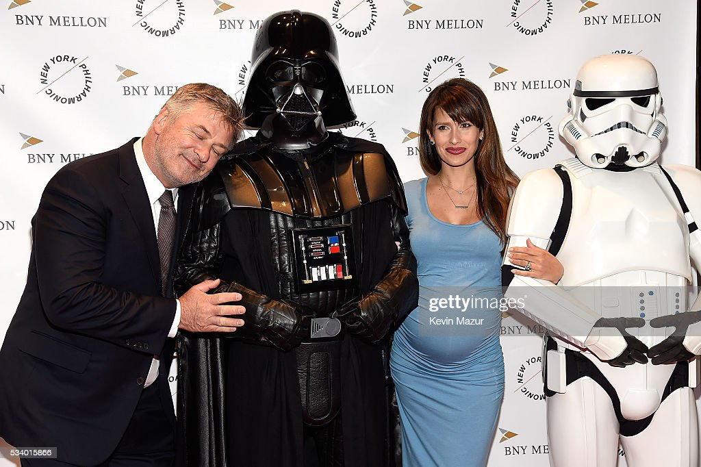 <a gi-track='captionPersonalityLinkClicked' href=/galleries/search?phrase=Alec+Baldwin&family=editorial&specificpeople=202864 ng-click='$event.stopPropagation()'>Alec Baldwin</a>, Hilaria Thomas Baldwin, Darth Vader and Stormtrooper attend New York Philharmonic's Spring Gala, A John Williams Celebration at David Geffen Hall on May 24, 2016 in New York City.