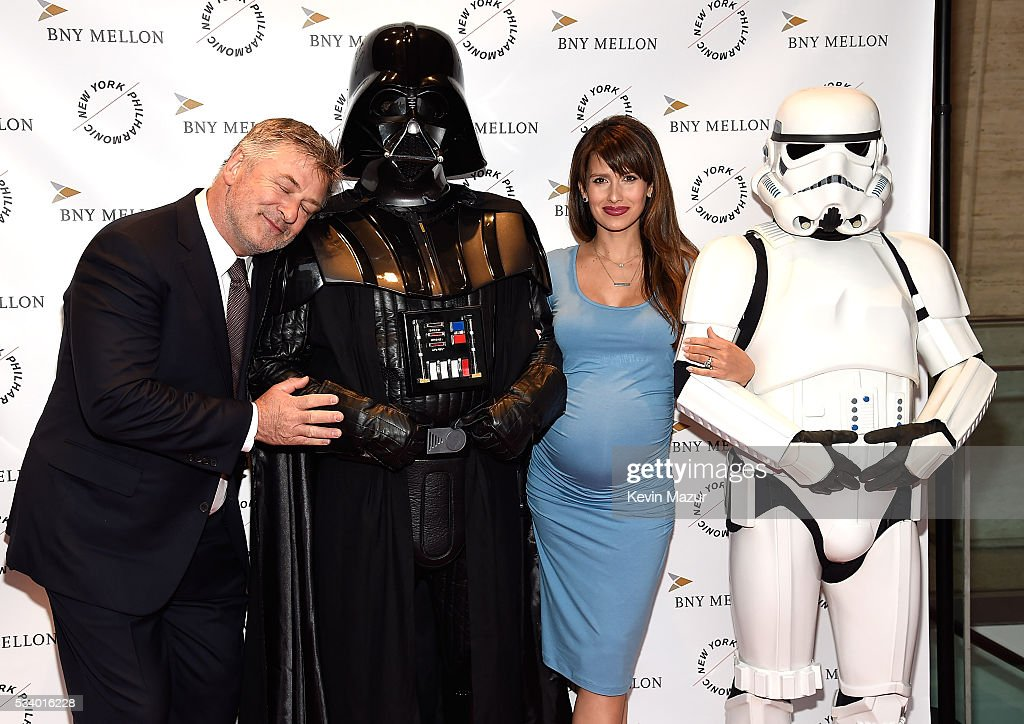 Alec Baldwin, Hilaria Thomas Baldwin, Darth Vader and Stormtroopers attend New York Philharmonic's Spring Gala, A John Williams Celebration at David Geffen Hall on May 24, 2016 in New York City.