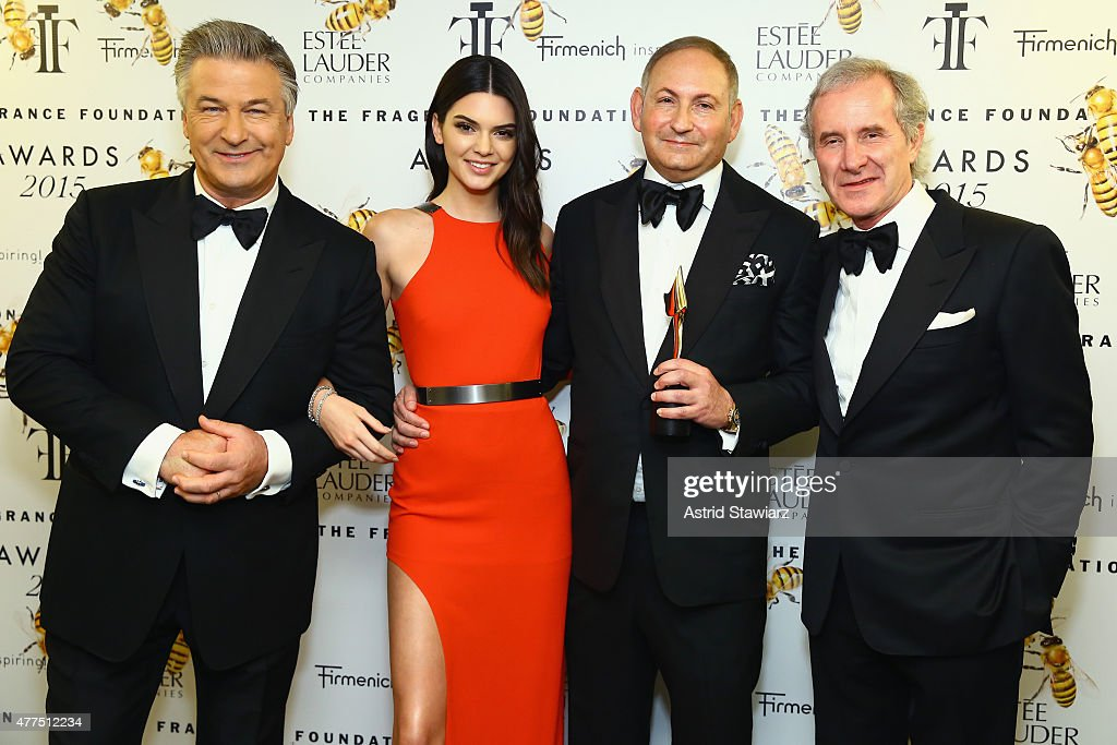 Alec Baldwin Kendall Jenner John Demsey and Fabrizio Freda attend the 2015 Fragrance Foundation Awards at Alice Tully Hall at Lincoln Center on June...
