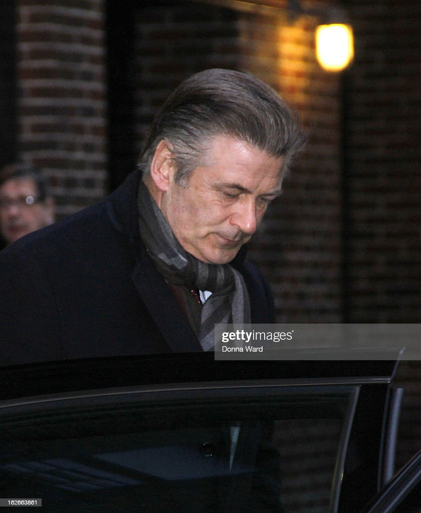 Alec Baldwin leaves the 'Late Show with David Letterman' at Ed Sullivan Theater on February 25, 2013 in New York City.