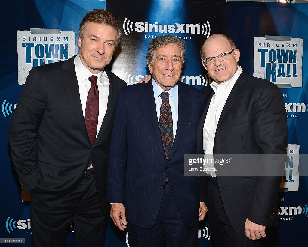 Alec Baldwin, Tony Bennett and President and Chief Content Officer, SiriusXM Scott Greenstein attend 'SiriusXM's Town Hall with Tony Bennett' and Moderator Alec Baldwin at SiriusXM Studio on February 13, 2013 in New York City.