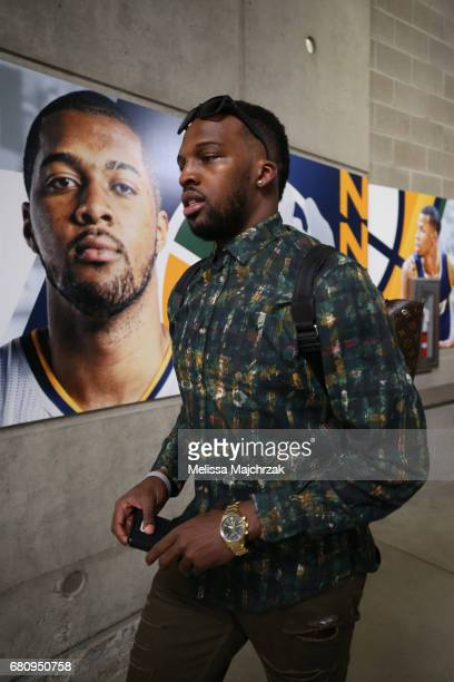 Alec Burks of the Utah Jazz arrives at the arena before Game Three of the Western Conference Semifinals against the Golden State Warriors during the...