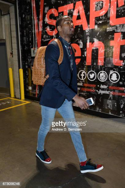 Alec Burks of the Utah Jazz arrives before the game against the LA Clippers in Game Five of the Western Conference Quarterfinals of the 2017 NBA...