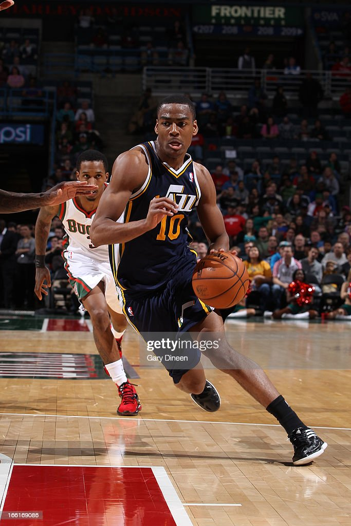 <a gi-track='captionPersonalityLinkClicked' href=/galleries/search?phrase=Alec+Burks&family=editorial&specificpeople=6834208 ng-click='$event.stopPropagation()'>Alec Burks</a> #10 of the Utah Jazz drives to the basket against the Milwaukee Bucks on March 4, 2013 at the BMO Harris Bradley Center in Milwaukee, Wisconsin.
