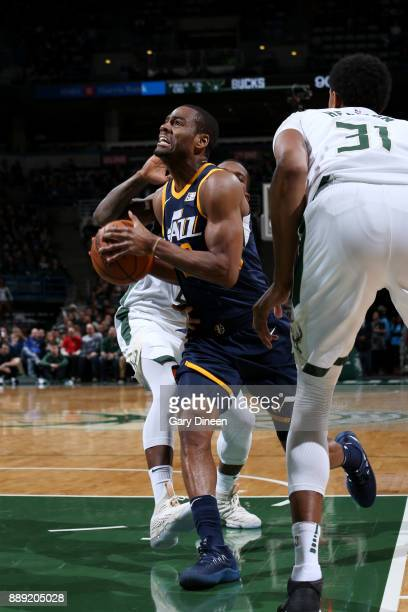 Alec Burks of the Utah Jazz drives to the basket against the Milwaukee Bucks on December 9 2017 at the BMO Harris Bradley Center in Milwaukee...