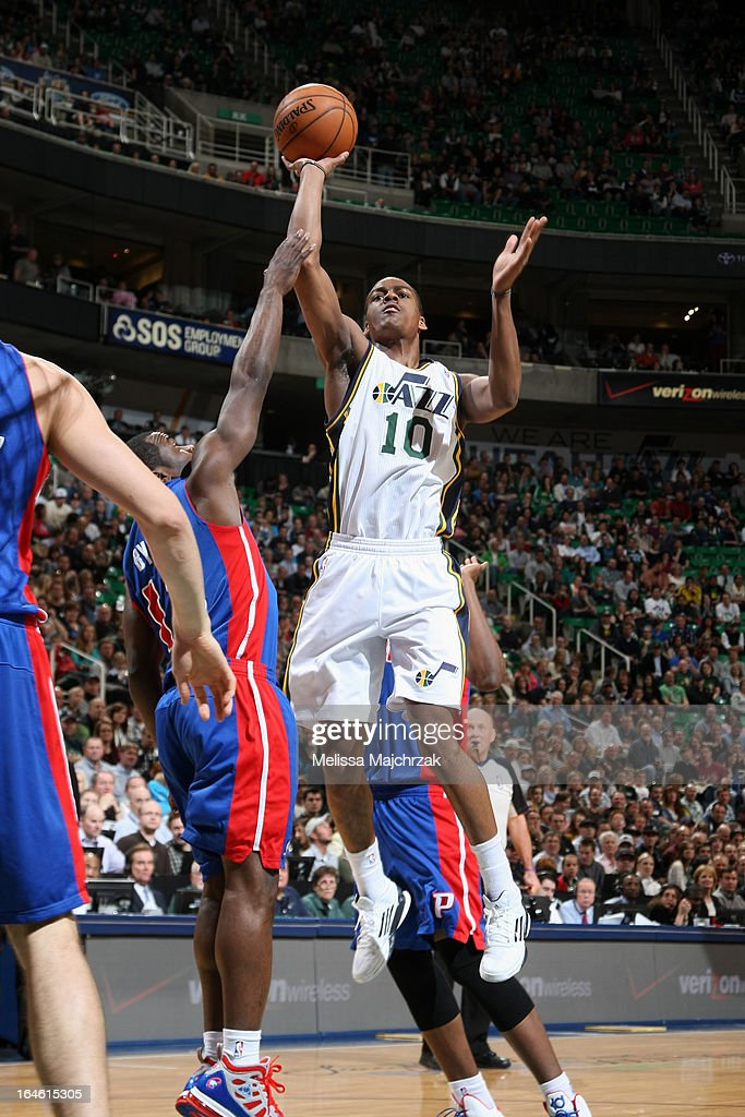 <a gi-track='captionPersonalityLinkClicked' href=/galleries/search?phrase=Alec+Burks&family=editorial&specificpeople=6834208 ng-click='$event.stopPropagation()'>Alec Burks</a> #10 of the Utah Jazz drives to the basket against the Detroit Pistons on March 11, 2013 in Salt Lake City, Utah.
