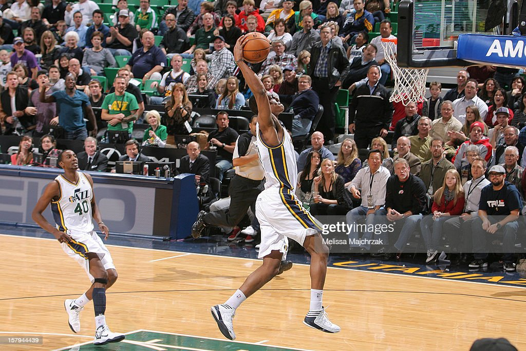 <a gi-track='captionPersonalityLinkClicked' href=/galleries/search?phrase=Alec+Burks&family=editorial&specificpeople=6834208 ng-click='$event.stopPropagation()'>Alec Burks</a> #10 of the Utah Jazz dunks against the Toronto Raptors at Energy Solutions Arena on December 07, 2012 in Salt Lake City, Utah.