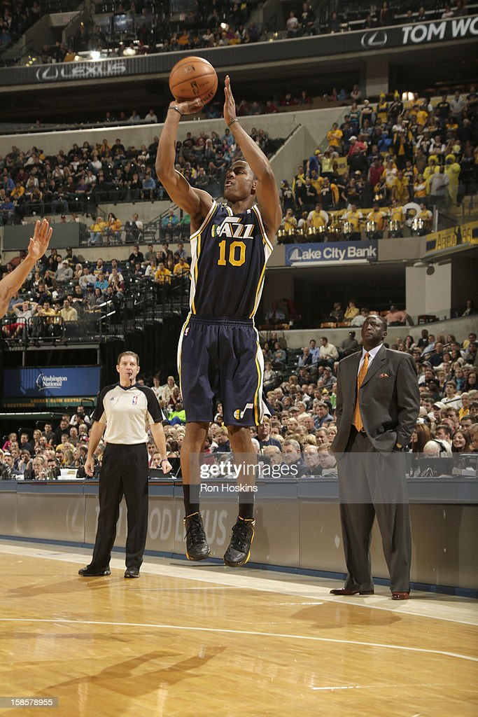 Alec Burks #10 of the Utah Jazz goes for a jump shot during the game between the Indiana Pacers and the Utah Jazz on December 19, 2012 at Bankers Life Fieldhouse in Indianapolis, Indiana.