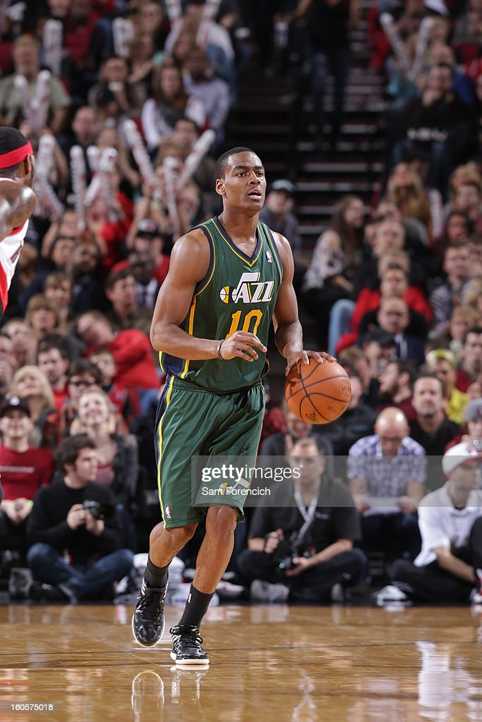 Alec Burks #10 of the Utah Jazz goes to the basket during the game between the Utah Jazz and the Portland Trail Blazers on February 2, 2013 at the Rose Garden Arena in Portland, Oregon.