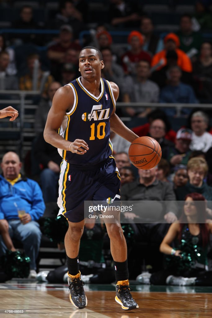 <a gi-track='captionPersonalityLinkClicked' href=/galleries/search?phrase=Alec+Burks&family=editorial&specificpeople=6834208 ng-click='$event.stopPropagation()'>Alec Burks</a> #10 of the Utah Jazz handles the ball against the Milwaukee Bucks on March 3, 2014 at the BMO Harris Bradley Center in Milwaukee, Wisconsin.