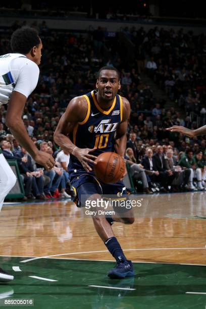 Alec Burks of the Utah Jazz handles the ball against the Milwaukee Bucks on December 9 2017 at the BMO Harris Bradley Center in Milwaukee Wisconsin...