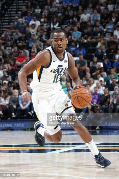 Alec Burks of the Utah Jazz handles the ball against the Oklahoma City Thunder during the game on October 21 2017 at vivintSmartHome Arena in Salt...