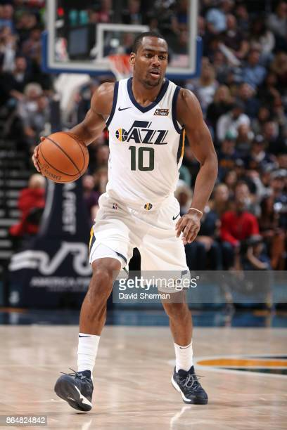 Alec Burks of the Utah Jazz handles the ball during a game against the Oklahoma City Thunder on October 21 2017 at Vivint Smart Home Arena in Salt...