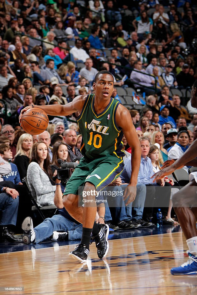 <a gi-track='captionPersonalityLinkClicked' href=/galleries/search?phrase=Alec+Burks&family=editorial&specificpeople=6834208 ng-click='$event.stopPropagation()'>Alec Burks</a> #10 of the Utah Jazz looks to drive to the basket against the Dallas Mavericks on March 24, 2013 at the American Airlines Center in Dallas, Texas.