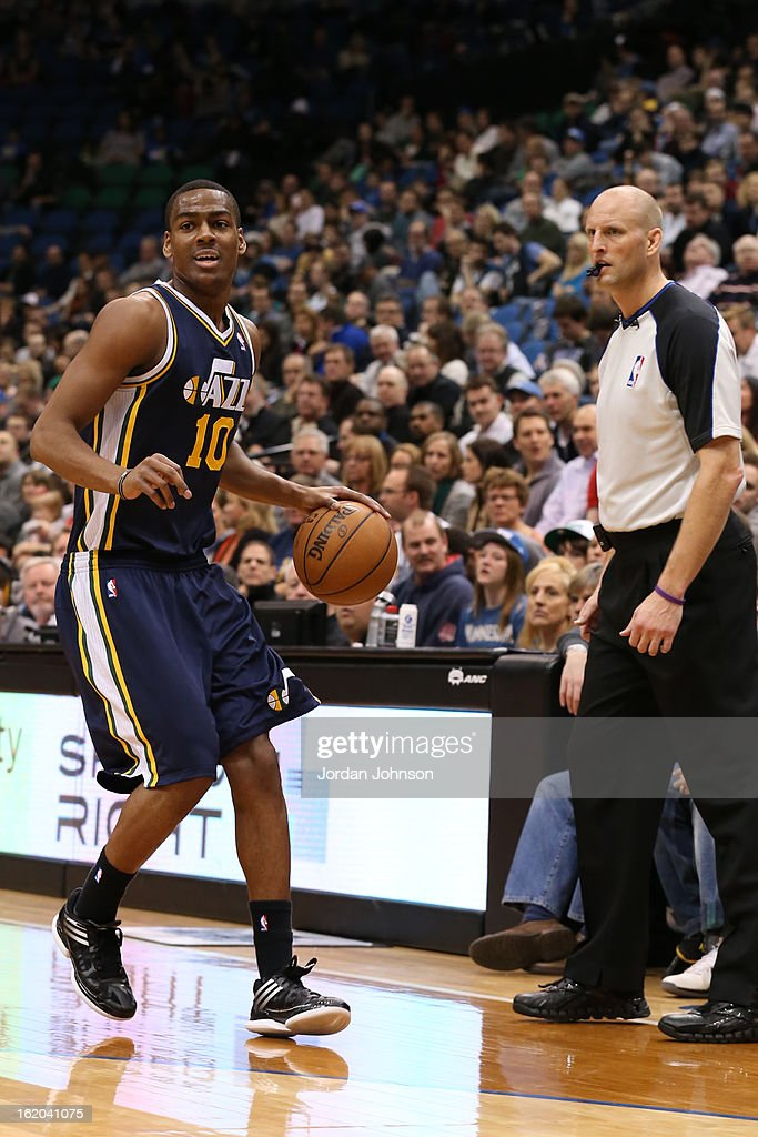 Alec Burks #10 of the Utah Jazz looks to pass the ball against the Minnesota Timberwolves on February 13, 2013 at Target Center in Minneapolis, Minnesota.