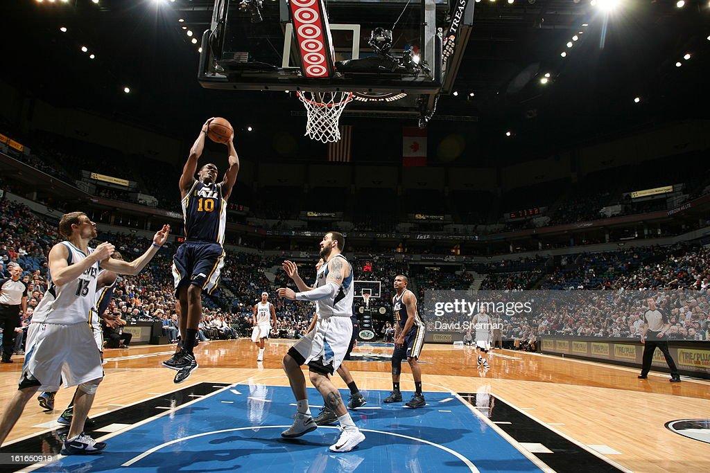 Alec Burks #10 of the Utah Jazz rebounds against the Minnesota Timberwolves on February 13, 2013 at Target Center in Minneapolis, Minnesota.