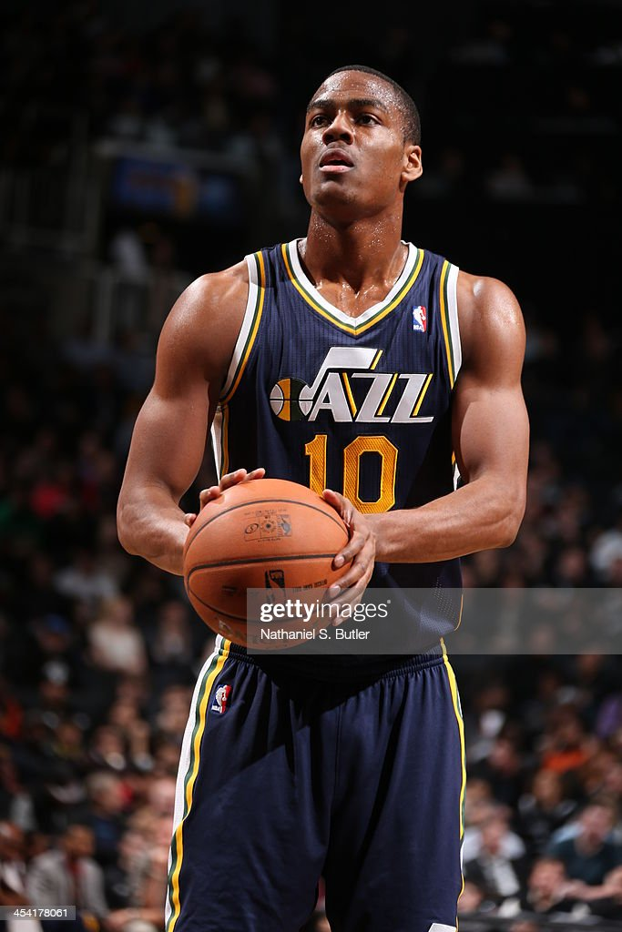 <a gi-track='captionPersonalityLinkClicked' href=/galleries/search?phrase=Alec+Burks&family=editorial&specificpeople=6834208 ng-click='$event.stopPropagation()'>Alec Burks</a> #10 of the Utah Jazz shoots a foul shot against the Brooklyn Nets during a game at Barclays Center on November 5, 2013 in the Brooklyn borough of New York City.