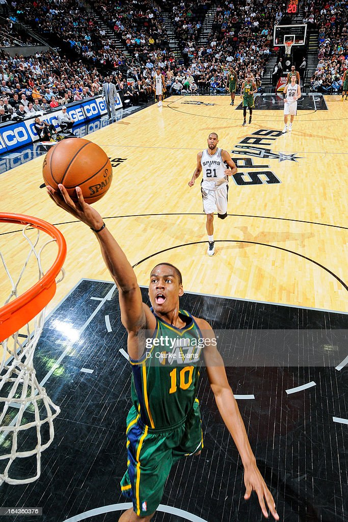 Alec Burks #10 of the Utah Jazz shoots a layup on a fast break against the San Antonio Spurs on March 22, 2013 at the AT&T Center in San Antonio, Texas.
