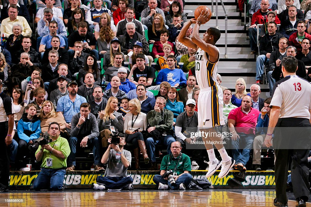 Alec Burks #10 of the Utah Jazz shoots a three-pointer against the Minnesota Timberwolves at Energy Solutions Arena on January 2, 2013 in Salt Lake City, Utah.