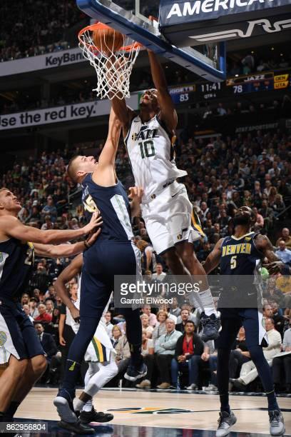 Alec Burks of the Utah Jazz shoots the ball against the Denver Nuggets during the game on October 18 2017 at vivintSmartHome Arena in Salt Lake City...