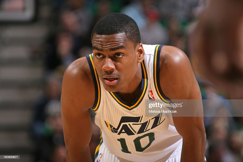 <a gi-track='captionPersonalityLinkClicked' href=/galleries/search?phrase=Alec+Burks&family=editorial&specificpeople=6834208 ng-click='$event.stopPropagation()'>Alec Burks</a> #10 of the Utah Jazz stands on the court during the game against the Oklahoma City Thunder on February 12, 2013 in Salt Lake City, Utah.