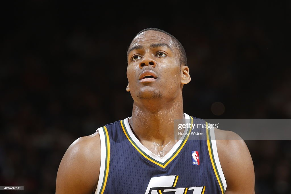 <a gi-track='captionPersonalityLinkClicked' href=/galleries/search?phrase=Alec+Burks&family=editorial&specificpeople=6834208 ng-click='$event.stopPropagation()'>Alec Burks</a> #10 of the Utah Jazz while taking a free throw against the Golden State Warriors on April 6, 2014 at Oracle Arena in Oakland, California.