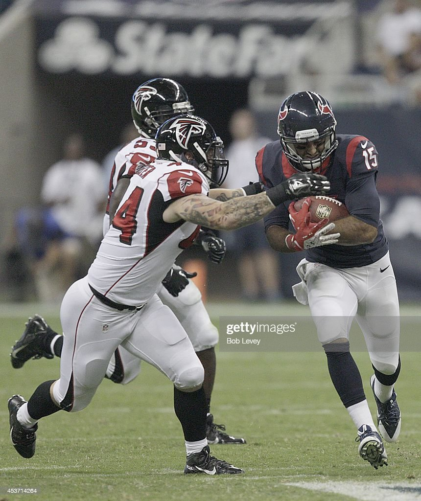 <a gi-track='captionPersonalityLinkClicked' href=/galleries/search?phrase=Alec+Lemon&family=editorial&specificpeople=7415987 ng-click='$event.stopPropagation()'>Alec Lemon</a> #15 of the Houston Texans breaks the tackle of <a gi-track='captionPersonalityLinkClicked' href=/galleries/search?phrase=Pat+Angerer&family=editorial&specificpeople=5534548 ng-click='$event.stopPropagation()'>Pat Angerer</a> #44 of the Atlanta Falcons in the third quarter in a pre-season NFL game on August 16, 2014 at NRG Stadium in Houston, Texas.