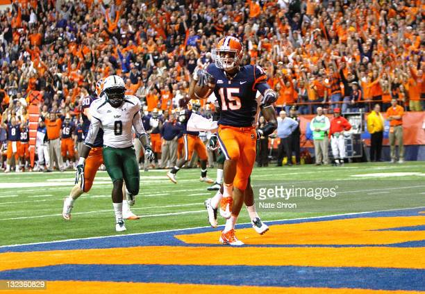 Alec Lemon of the Syracuse Orange scores a touchdown against the South Florida Bulls during the game at the Carrier Dome on November 11 2011 in...