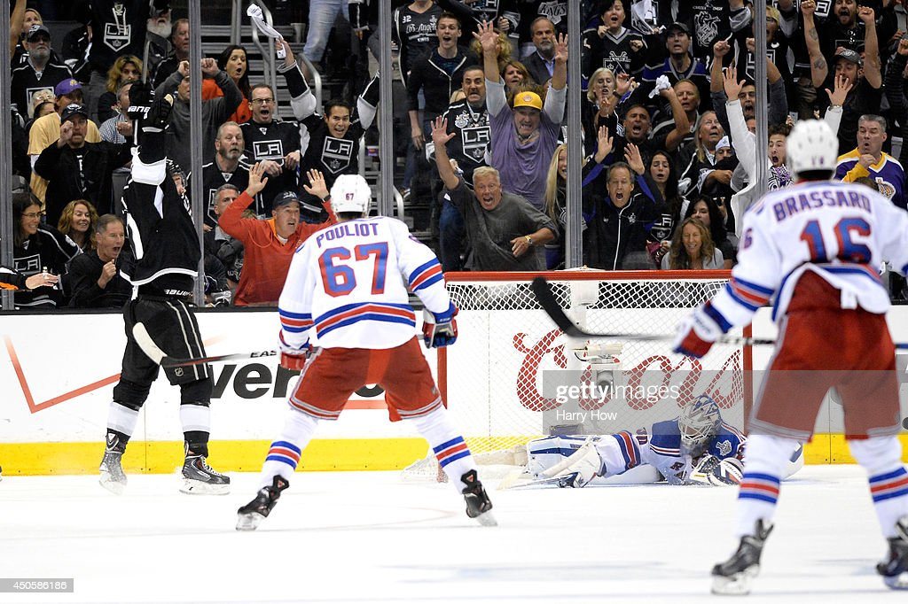 Alec Martinez of the Los Angeles Kings celebrates after scoring the gamewinning goal in double overtime against the New York Rangers during Game Five...