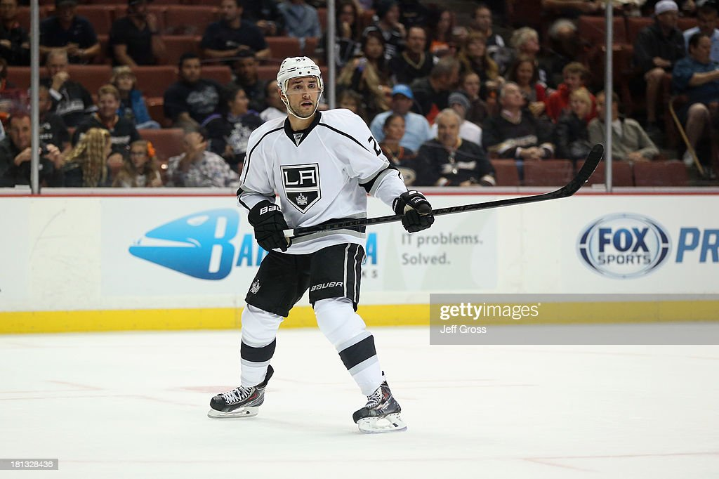 <a gi-track='captionPersonalityLinkClicked' href=/galleries/search?phrase=Alec+Martinez+-+Ice+Hockey+Player&family=editorial&specificpeople=5537193 ng-click='$event.stopPropagation()'>Alec Martinez</a> #27 of the Los Angeles Kings skates during a preseason game against the Anaheim Ducks at Honda Center on September 17, 2013 in Anaheim, California.