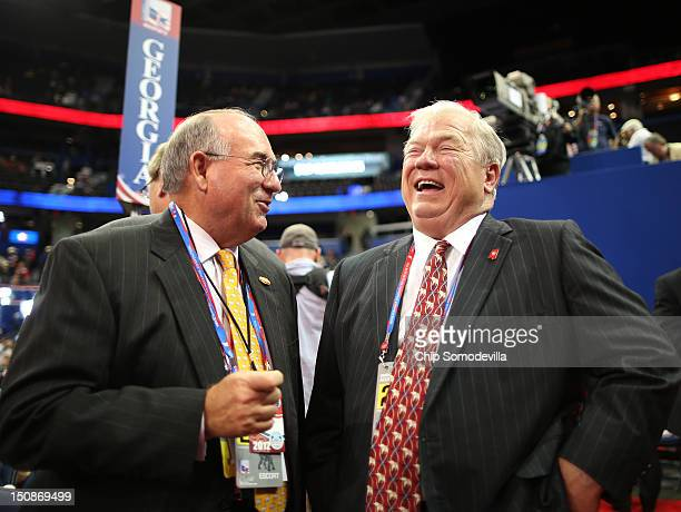 Alec Poitevint speaks with Former Mississippi Gov Haley Barbour during the Republican National Convention at the Tampa Bay Times Forum on August 28...
