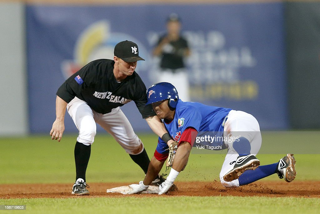 Alec Rosales #10 of Team Philippines is tagged out at second base by Alan Schoenberger #38 of Team New Zealand in the bottom of the fourth inning during Game 5 of the 2013 World Baseball Classic Qualifier against Team Philippines at Xinzhuang Stadium in New Taipei City, Taiwan on Saturday, November 17, 2012.