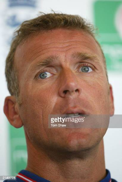 Alec Stewart of England announces his retirement from international cricket during a press conference at Edgebaston Cricket Ground on July 22 2003 in...