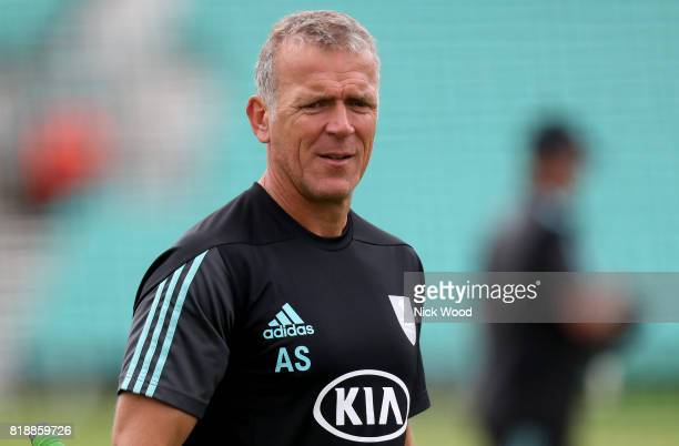 Alec Stewart of Surrey leads his teams warmup during the Surrey v Essex NatWest T20 Blast cricket match at the Kia Oval on July 19 2017 in London...