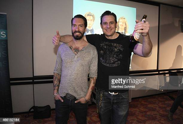 Alec Voelkel aka Boss Burns and Sascha Vollmer aka Hoss Power of The BossHoss pose backstage during the Eurovision Song Contest 2015 Wer singt fuer...