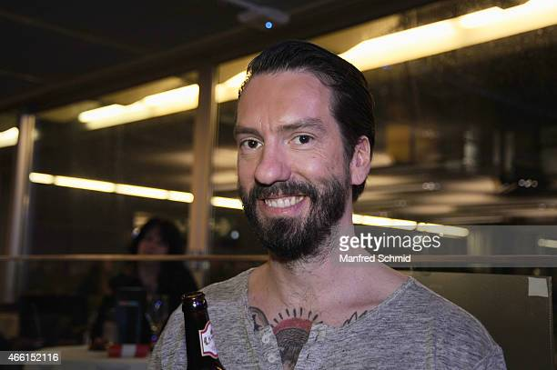 Alec Voelkel aka Boss Burns of The BossHoss poses backstage during the Eurovision Song Contest 2015 Wer singt fuer Oesterreich finals at ORF Zentrum...