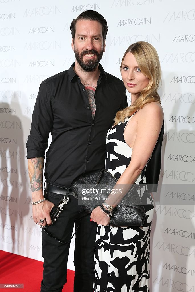 Alec Voelkel,member of 'The Boss Hoss' and his wife Johanna Michels during the Marc Cain fashion show spring/summer 2017 at CITY CUBE Panorama Bar on June 28, 2016 in Berlin, Germany.