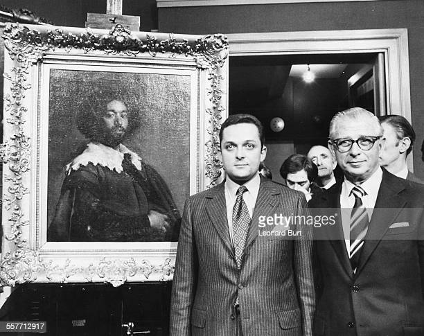 Alec Wildenstein and his boss Louis Goldenberg next to the painting of Juan de Pareja by Velanquez that they just purchased for a record price of...